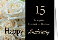 15th Anniversary card for Cousin & Husband - Pale pink roses card