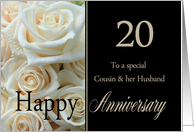 20th Anniversary card for Cousin & Husband - Pale pink roses card