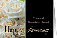 Anniversary card for Cousin & Husband - Pale pink roses card