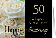 50th Anniversary card to Aunt & Uncle - Pale pink roses card