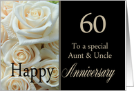 60th Anniversary card to Aunt & Uncle - Pale pink roses card