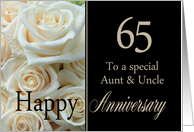 65th Anniversary card to Aunt & Uncle - Pale pink roses card