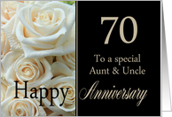 70th Anniversary card to Aunt & Uncle - Pale pink roses card