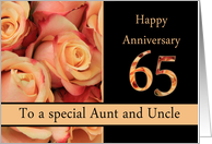 65th Anniversary, Aunt & Uncle multicolored pink roses card