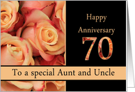 70th Anniversary, Aunt & Uncle multicolored pink roses card