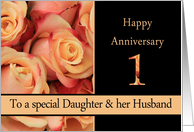 Daughter & Husband 1st Anniversary Multicolored Pink Roses card
