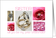 Sister will you be my junior bridesmaid pink wedding collage card