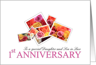 Daughter & Son in Law 1st Anniversary Mixed Rose Bouquet card