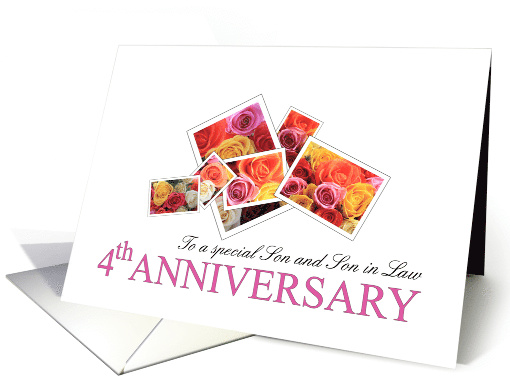 Son & Son in Law 4th Anniversary Mixed Rose Bouquet card (650374)