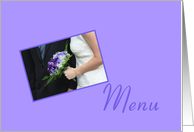 menu card for wedding - bride and purple bouquet card
