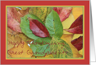 Happy Thanksgiving fall foliage greeting card for Great Grandparents card