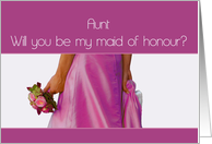 Aunt Maid of Honour Request Pink Bride and Bouquet card