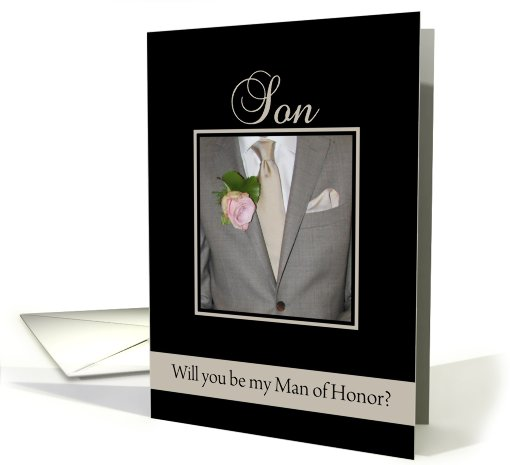 Son Will you be my man of honor request - grey suit card (691514)