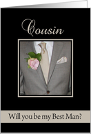 Cousin Be my Best Man Grey Suit and Boutonnière card