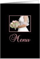 Wedding Dinner Menu Card - bride and bouquet card