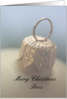 Merry Christmas golden Ornament card for boss card