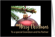 Grandson & Partner Classic Red Christmas Bauble on Twig card