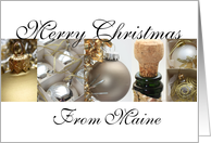 Maine Christmas wish black & White & Gold collage card
