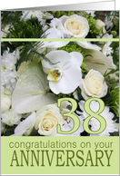 38th Wedding Anniversary White Mixed Bouquet card