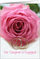 engagement of daughter announcement - pink rose card