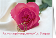 engagement of daughter announcement - pink rose and rings card
