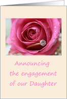 engagement of daughter announcement - pink rose and ring card