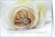 engagement of daughter announcement - white rose and ring card