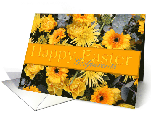 Godparents Yellow Happy Easter Flowers card (785120)