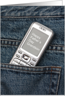 Grandson Happy Father's Day Cellphone in Jeans Pocket card