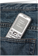 Nephew Happy Father's Day Cellphone in Jeans Pocket card