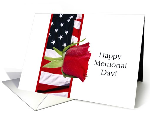 Happy Memorial Day red rose on flag card (810660)