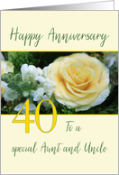 Aunt & Uncle 40th Wedding Anniversary Big Yellow Rose card