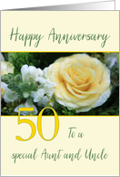 Aunt & Uncle 50th Wedding Anniversary Yellow Rose card