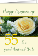 Aunt & Uncle 55th Wedding Anniversary Yellow Rose card