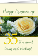 Cousin and Husband 35th Wedding Anniversary Yellow Rose card