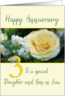 Daughter and Son in Law 3rd Wedding Anniversary Yellow Rose card