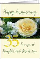 Daughter and Son in Law 35th Wedding Anniversary Yellow Rose card