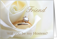 Friend Be My Hostess Bridal Set in White Rose card