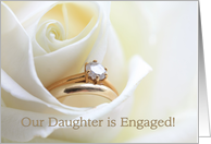 Our daughter is engaged announcement - Bridal set in white rose card