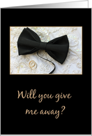 Give me away request Bow tie and rings on wedding dress card