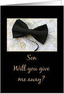 Son Give me away request Bow tie and rings on wedding dress card
