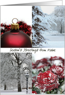 Maine Season's Greetings - Red Winter collage state specific christmas card