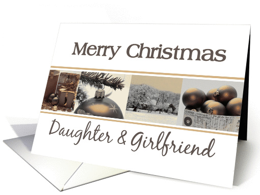 Daughter & Girlfriend Merry Christmas, sepia Winter collage card