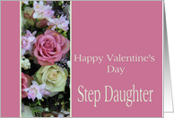 Step Daughter Happy Valentine's Day pink and white roses card