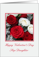 Step Daughter Happy Valentine's Day red and white roses card
