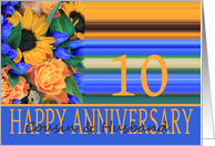 10th Anniversary for Cousin & Husband, Sunflower Bouquet card