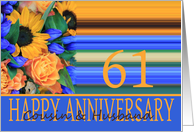 61st Anniversary for Cousin & Husband, Sunflower Bouquet card