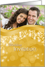 Photo Wedding/Marriage Invitation with design on golden card