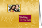 Photo Wedding/Marriage Invitation with design on shades of golden card