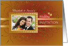 Photo Wedding Invitation Card on brown with golden design card